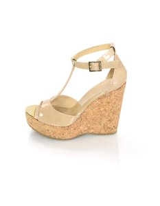 Jimmy Choo Nib Cork T-strap nude Wedges