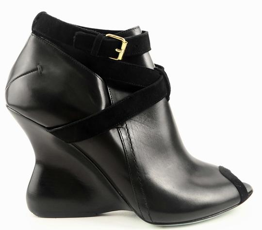 CoSTUME NATIONAL Peep Toe Leather Ankle Black Boots