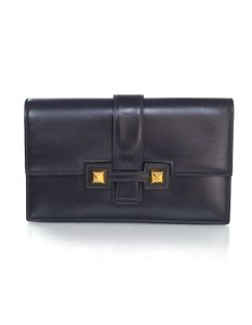 Hermès Vintage Medor Box Leather Navy Clutch