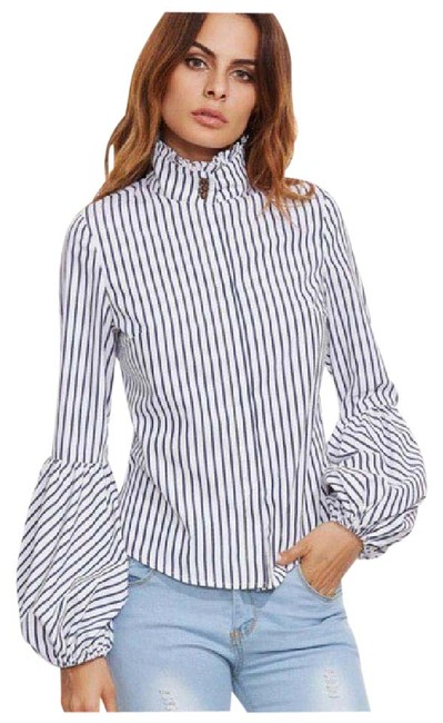 Preload https://item2.tradesy.com/images/white-stripe-puff-sleeve-ruffle-collar-blouse-size-8-m-21550881-0-1.jpg?width=400&height=650