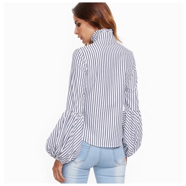 Other Striped Puff Sleeve Ruffle Collar Top White black