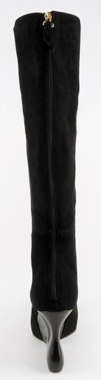 CoSTUME NATIONAL Wedge Designer Suede Zipper Black Boots