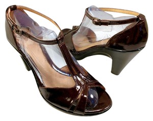 Eürosoft by Söfft T-strap Ankle Strap Patent Leather Pump Brown Wedges