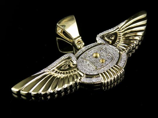 Other Mens Yellow Gold Genuine Diamond Bentley Flying B Logo Pendant Charm 3