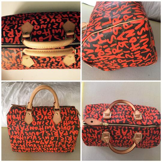 Louis Vuitton Limited Edition Speedy 30 Coated Canvas Sprouse Graffiti Satchel in Orange