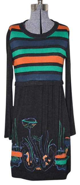 Preload https://item3.tradesy.com/images/dark-grey-sweater-in-orange-green-and-navy-mid-length-short-casual-dress-size-4-s-21551152-0-1.jpg?width=400&height=650