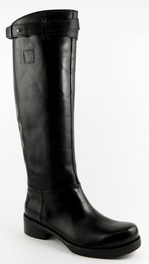 CoSTUME NATIONAL Knee High Riding Designer Leather Black Boots