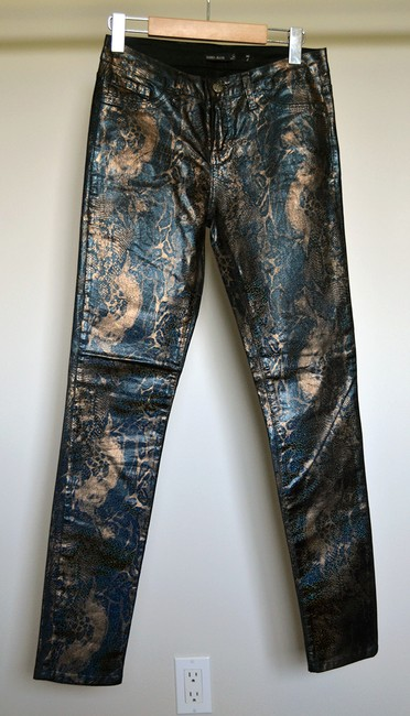 Hidden Metallic Coated Tight Painted Skinny Jeans-Coated