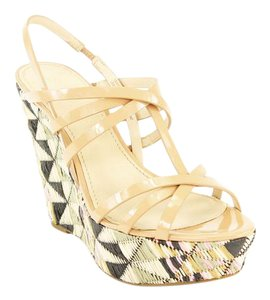 Vera Wang Multi-color Open Toe Strappy Summer Beige Wedges