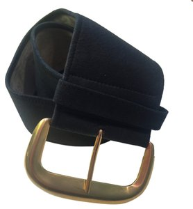 "Donna Karan Donna Karan black suede curved belt with gold tone buckle 33"" x 4"" at widest point & 3"" at narrowest. Buckle is 3"" x 5"""