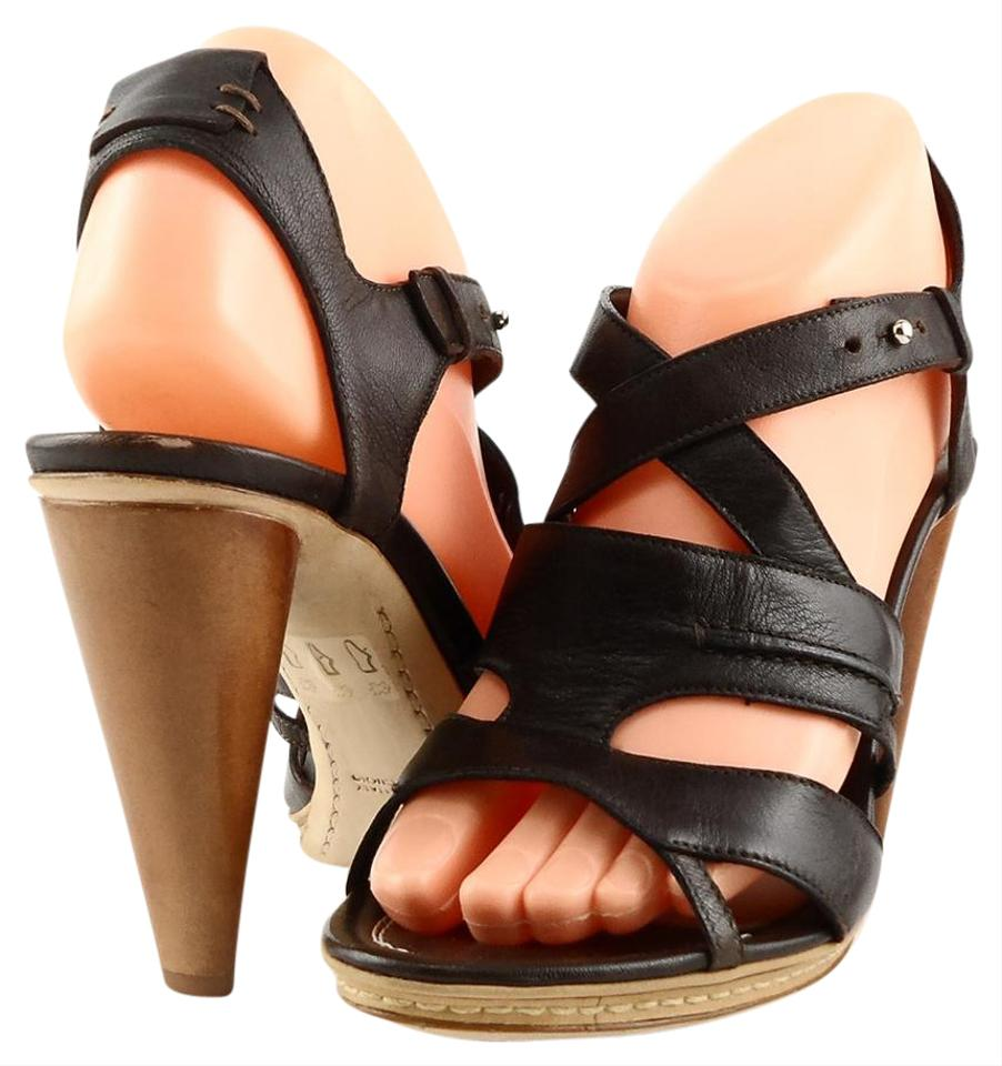 CoSTUME NATIONAL Toe T. Moro Brown Airon Leather Open Toe NATIONAL Eur 35.5 Sandals 087710