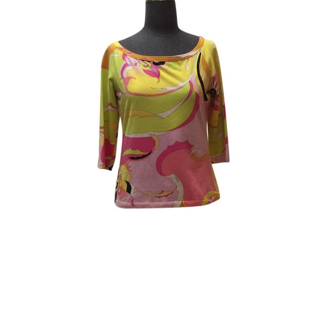 Preload https://img-static.tradesy.com/item/21551532/emilio-pucci-lime-pink-yellow-and-black-printed-cotton-tee-shirt-size-8-m-0-1-650-650.jpg