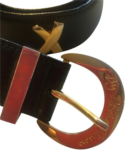 "Paloma Picasso Paloma Picasso black leather belt with 4 gold signature x's 33"" x 1 & 1/2"""
