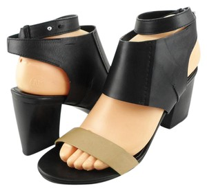 CoSTUME NATIONAL Leather Open Heel Designer Black Beige Sandals