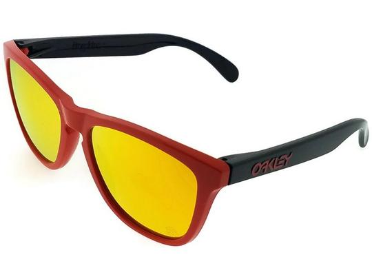 Oakley OO9013-34 Frogskins Unisex Red Frame Yellow Lens 55mm Sunglasses NWT