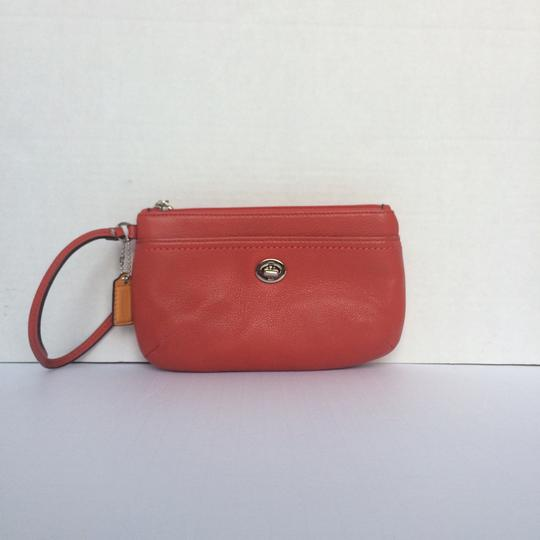 Coach Leather fire red Clutch