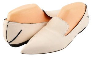 CoSTUME NATIONAL Pointed Toe Loafers Leather Eggshell Flats