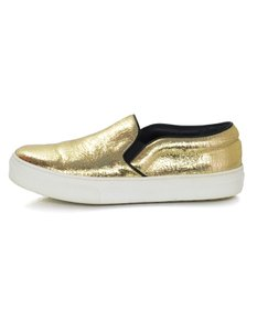 Cline Leather Gold Distressed Sneakers Athletic