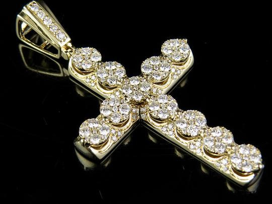 Other Men's 14K Yellow Gold Real Diamond 3D Cluster Cross Pendant Charm
