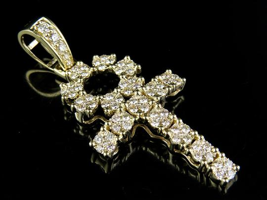 Other 10K Yellow Gold Real Diamond Egyptian Cluster Dome Ankh Cross Pendant