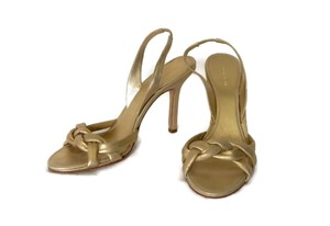 BCBGMAXAZRIA Leather Braided Slingback Heel Gold Pumps