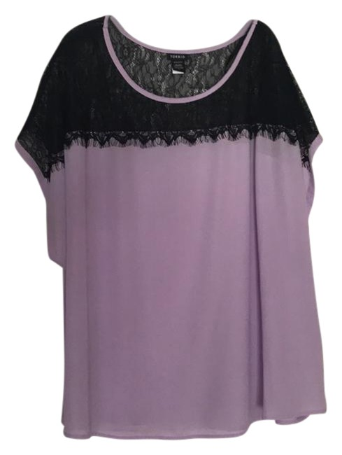 Preload https://item2.tradesy.com/images/torrid-light-purple-black-lace-blouse-size-28-plus-3x-21552011-0-1.jpg?width=400&height=650