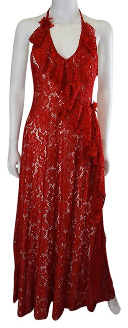 Lisa Nieves Lace Prom Ruffle Backless Dress