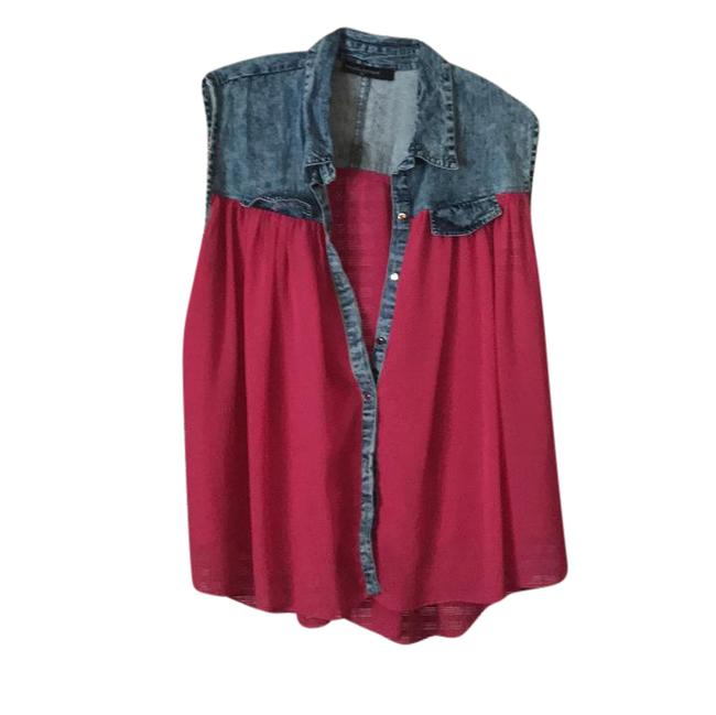Preload https://img-static.tradesy.com/item/21552044/fashion-to-figure-pink-chiffon-and-denim-button-down-top-size-26-plus-3x-0-1-650-650.jpg