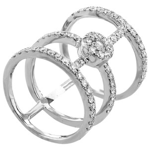 ABC Jewelry 1.13ct three band diamond fashion right hand ring