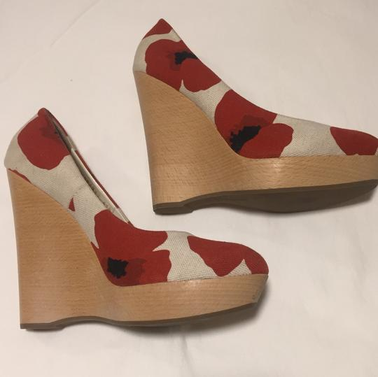 Saint Laurent Cream with red poppy print Wedges