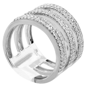 ABC Jewelry 3 ring near 1ct fashion diamond band in 18kt white gold