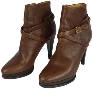 Ralph Lauren Collection Leather Buckle Ankle Wrap Platform Brown Boots