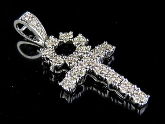 Other 10K White Gold Real Diamond Dome Cluster Flower Ankh Cross Pendant