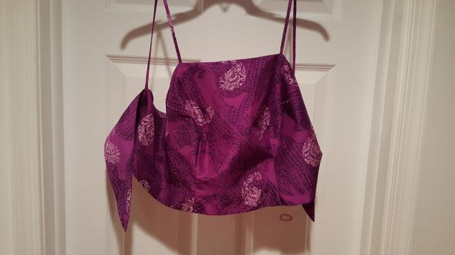 Ann Taylor Silk Crop Tie Small Top Purple CRUISE WEAR in black/white paisley print & beaded lines