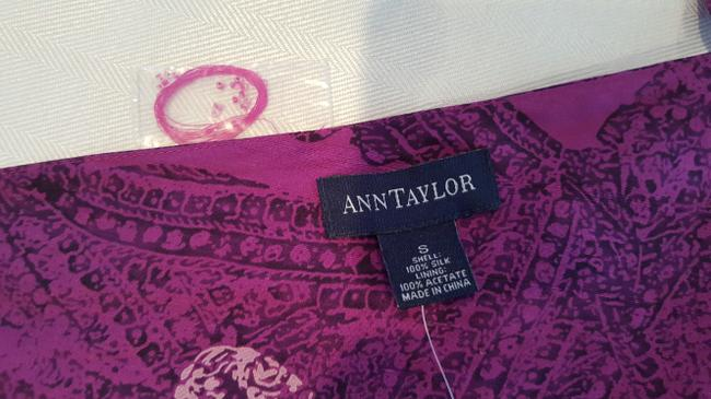 Ann Taylor Silk Crop Tie Small New Top Purple top with black & white paisley print and beaded lines