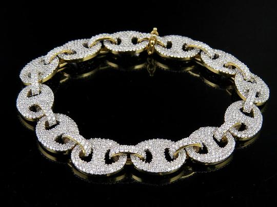 Other 10K Yellow Gold Real Diamond Puff Mariner GG Bracelet 12 1/2 CT 8.5