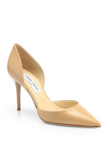 Jimmy Choo Leather Pointed Toe nude Pumps