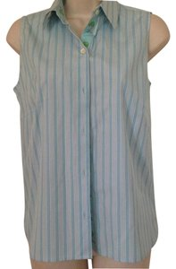 Andrea Becker Palm Beach Palm Trees Preppy Ribbon Dragonfly Top Blue