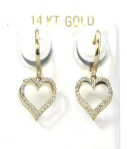 Other 14 K Yellow Gold (CZ) Baby Huggies Heart Earring