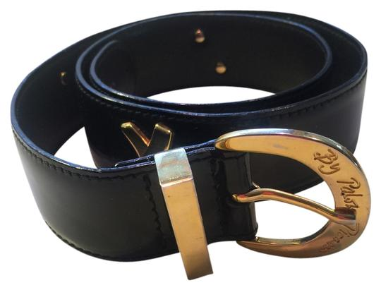"""Paloma Picasso Paloma Picasso black patent leather belt with 4 gold signature x's & gold buckle 33"""" x 1 & 1/2"""""""