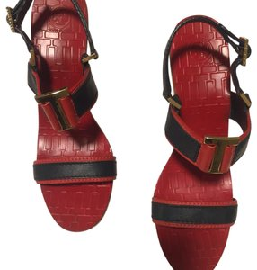 Tory Burch Red And Blue Wedges Red and Blue Wedges