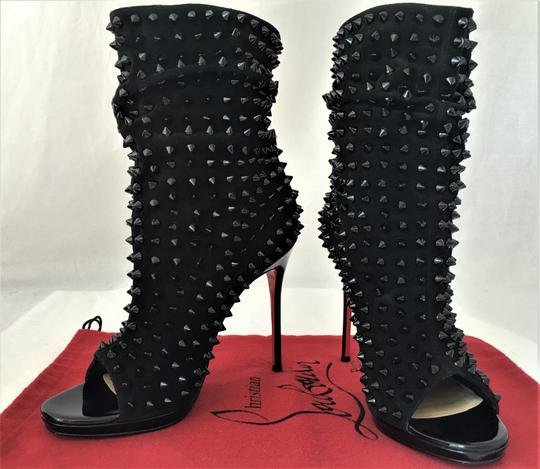 Christian Louboutin Pigalle Strass Thigh High Sandals Slingback Black Ankle Boots