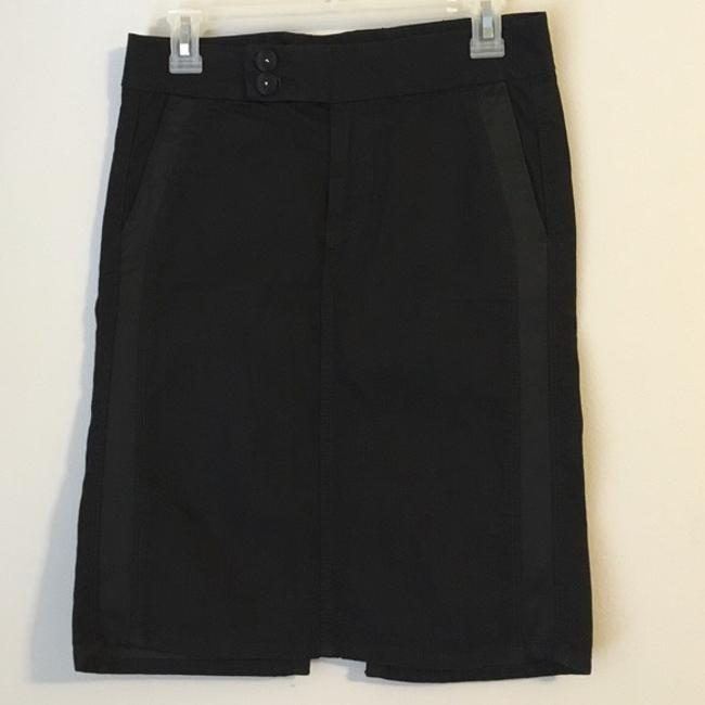 7 For All Mankind Pencil Midi Stretchy Striped Skirt black