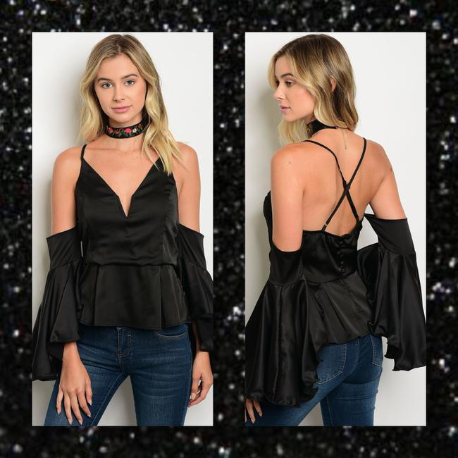 Other Off Shoulder Bell Sleeve Spaghetti Strap Corset Modern Top Black