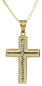 Other 14K Two-Tone Gold Diamond Cut Reversible Crucifix Pendant