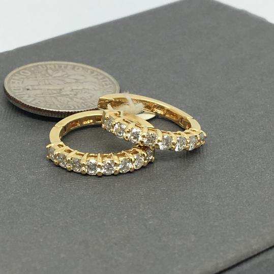 Other 14K Yellow Gold Natural Diamond Hoop Earrings