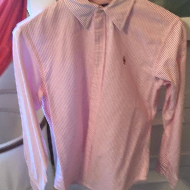 Preload https://item4.tradesy.com/images/ralph-lauren-pink-and-white-button-down-top-size-8-m-21552938-0-0.jpg?width=400&height=650