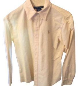 Ralph Lauren Button Down Shirt yellow and white
