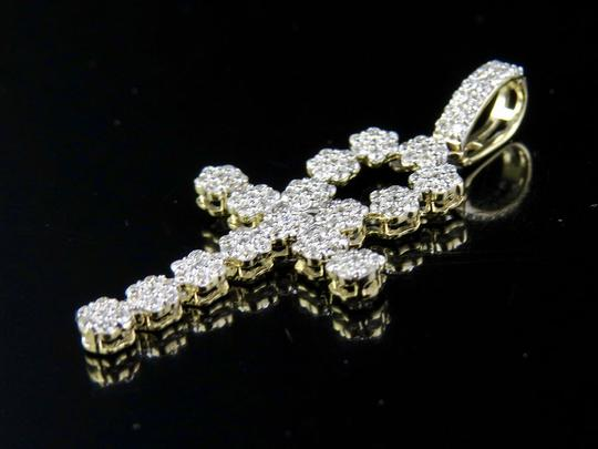 Other 10K Yellow Gold Genuine Diamond Egyptian Cluster Ankh Cross Pendant