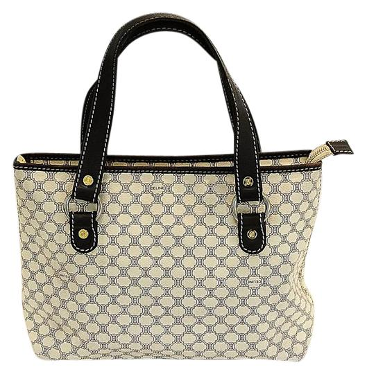 Preload https://item2.tradesy.com/images/celine-macadam-small-white-and-dark-brown-multicolor-coated-canvas-tote-21553151-0-2.jpg?width=440&height=440